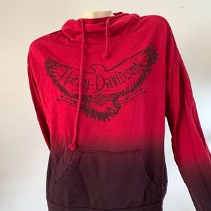 Harley Davidson red acid wash tie dye sweatshirt